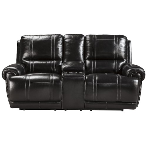 Signature Design by Ashley Paron - Antique Double Reclining Power Loveseat with Console