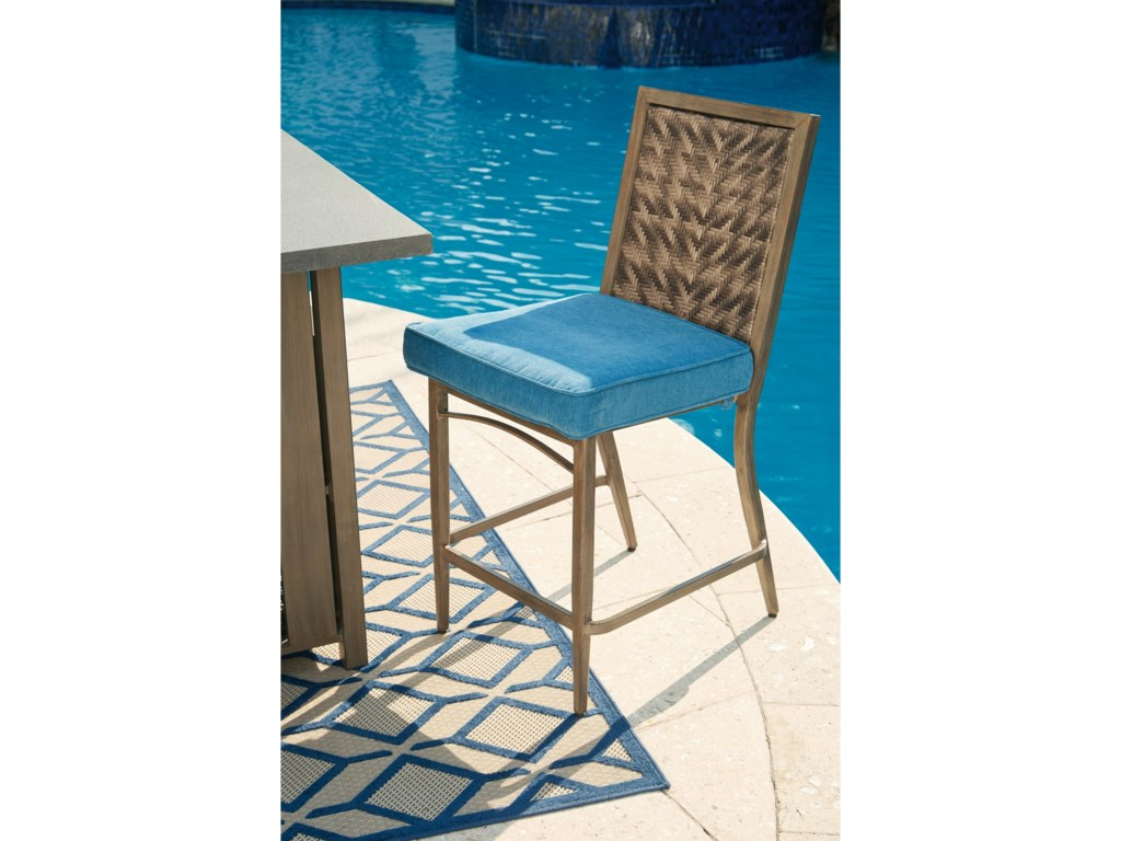 Signature Design by Ashley PartannaSet of 4 Outdoor Barstools with Cushion