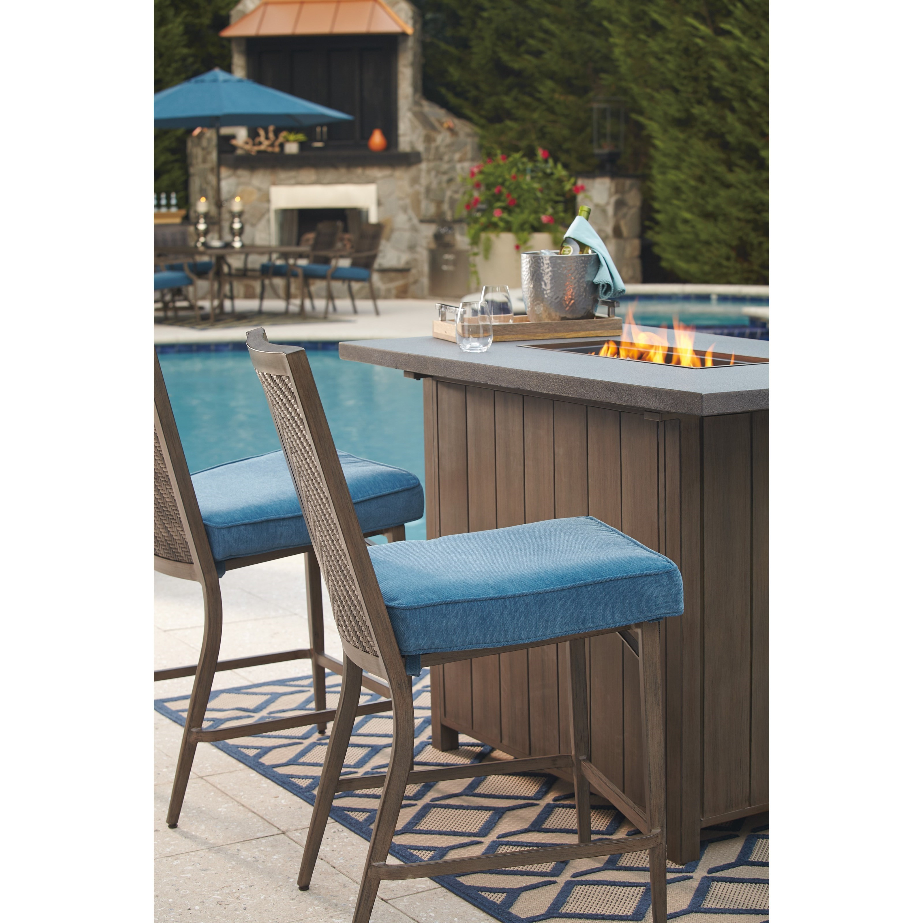 partanna p556130 set of 4 outdoor barstools with cushion by signature design by ashley