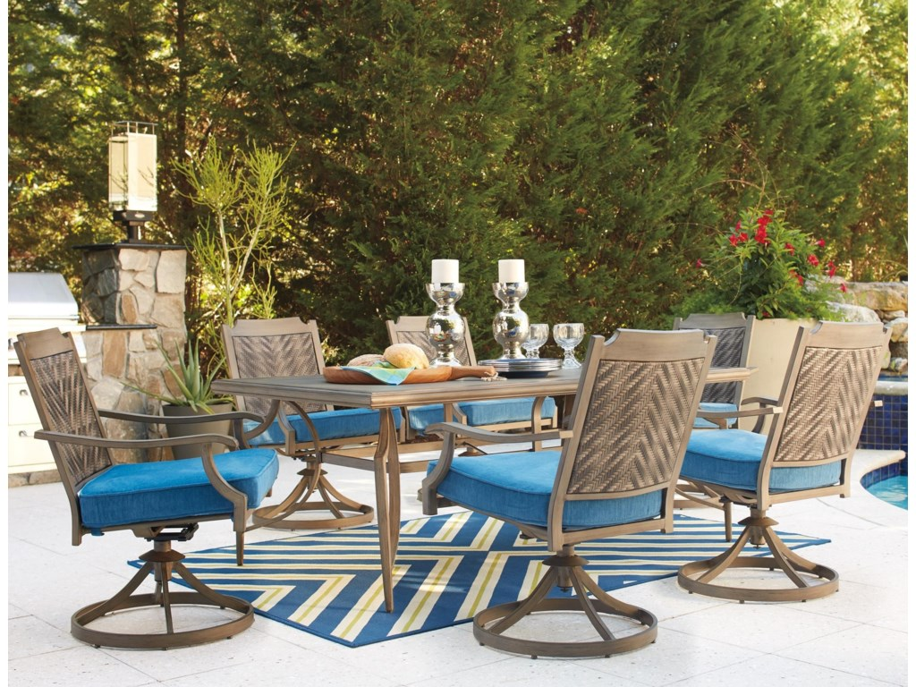Ashley Signature Design PartannaOutdoor Dining Table Set With Swivel Chairs