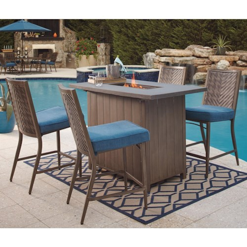 Signature Design By Ashley Partanna 5 Piece Bar Table With Fire Pit Set Value City Furniture