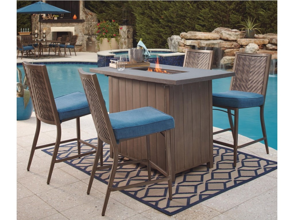 Signature Design By Ashley Partanna5 Piece Bar Table With Fire Pit Set