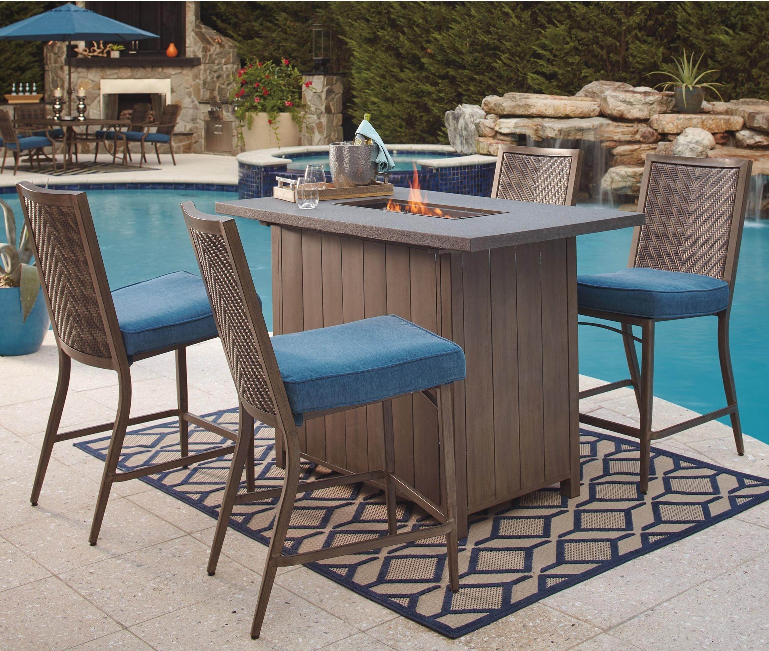 Delightful Signature Design By Ashley Partanna 5 Piece Bar Table With Fire Pit Set