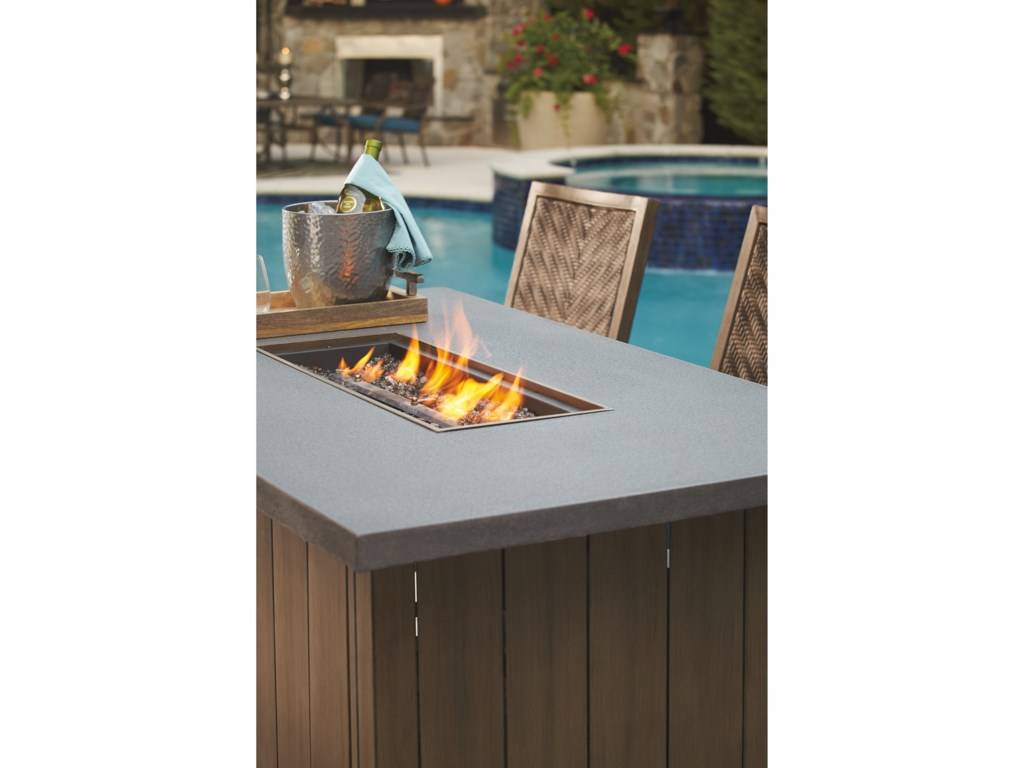 Signature Design by Ashley Partanna5-Piece Bar Table with Fire Pit Set