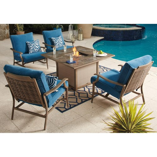 Signature Design By Ashley Partanna 5 Piece Outdoor Fire Pit Set Value City Furniture