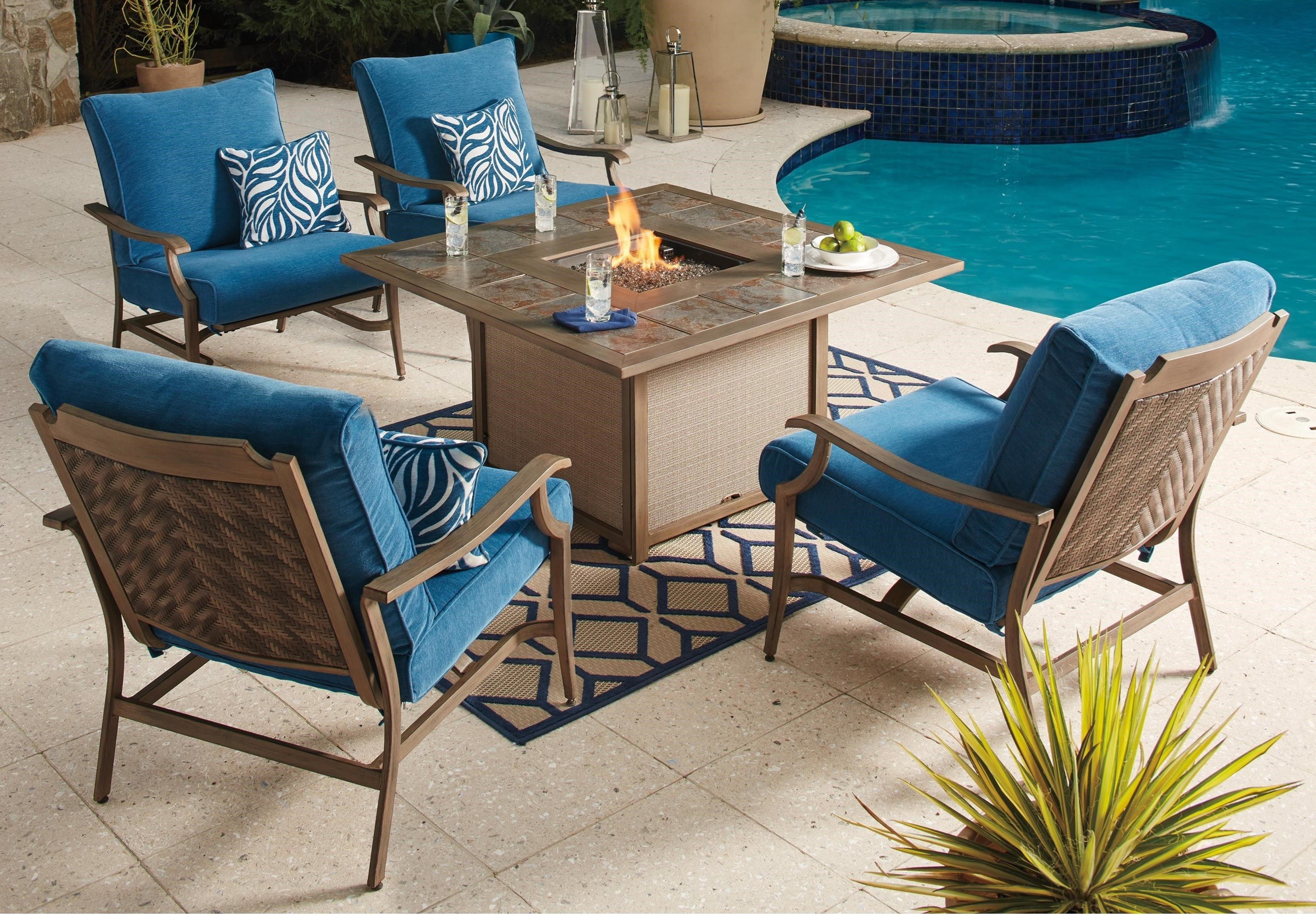 Signature Design By Ashley Partanna 5 Piece Outdoor Fire Pit Set   John V  Schultz Furniture   Outdoor Conversation Sets/Outdoor Chat Sets
