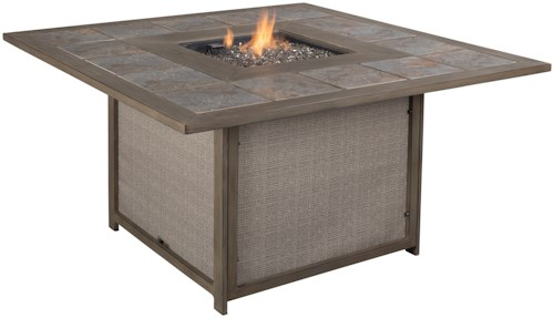 Signature Design by Ashley Partanna Outdoor Square Fire Pit Table