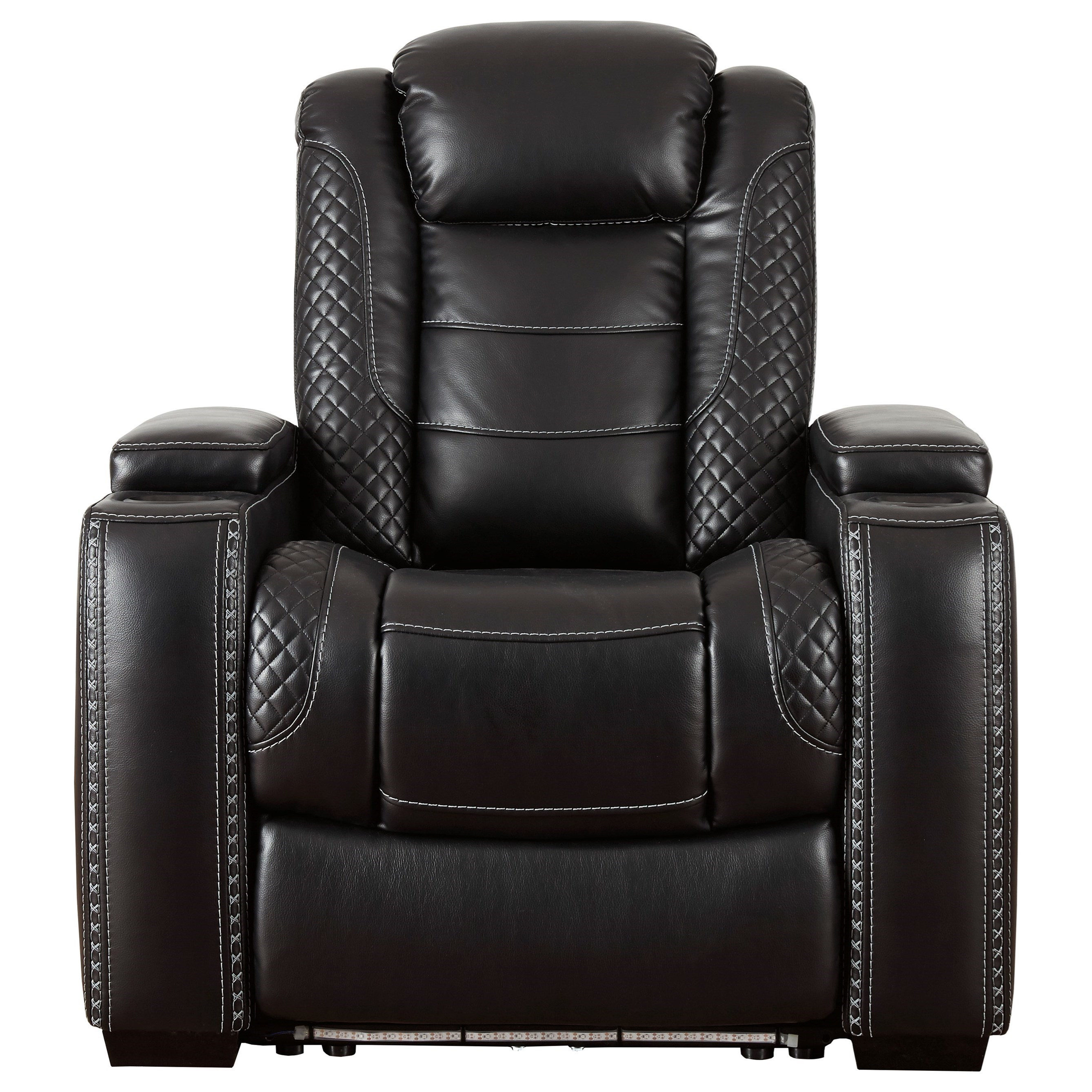 Picture of: Signature Design By Ashley Party Time 3700313 Faux Leather Power Recliner With Adjustable Headrest Theater Lighting Sam Levitz Furniture Recliners