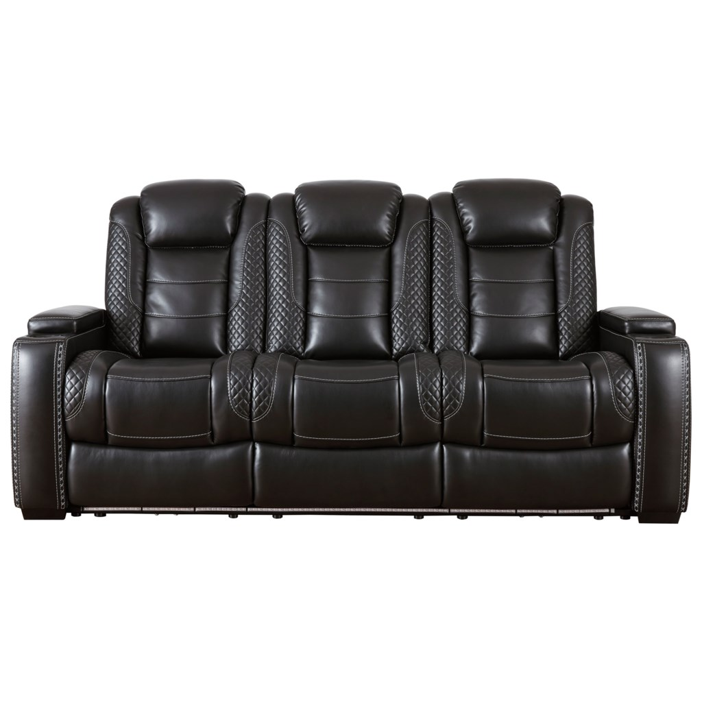 Ashley Signature Design Party Time Faux Leather Power Reclining Sofa