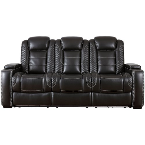 Signature Design by Ashley Party Time Faux Leather Power Reclining Sofa w/ Adjustable Headrests & Theater Lighting