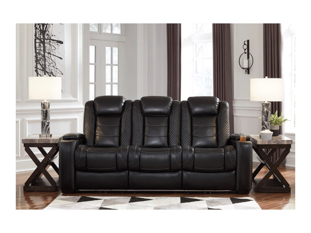 Signature Design by Ashley Party TimePower Reclining Sofa w/ Adjustable Headrests