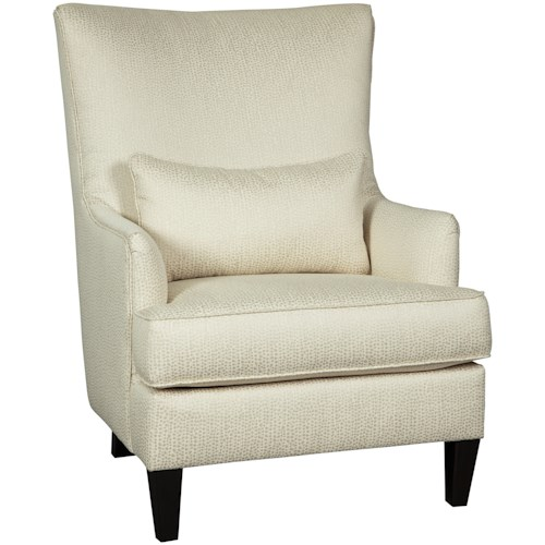 Signature Design by Ashley Paseo Glam Modern Wing Back Accent Chair in Ivory Fabric with Lumbar Pillow