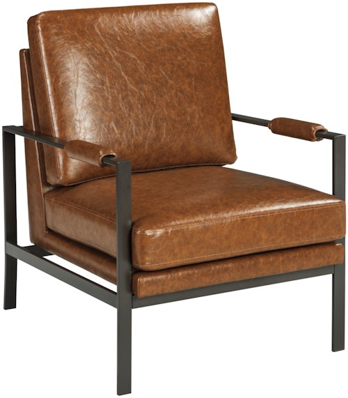 Signature Design by Ashley Peacemaker Dark Bronze Finish Metal Arm Accent Chair with Light Brown Faux Leather