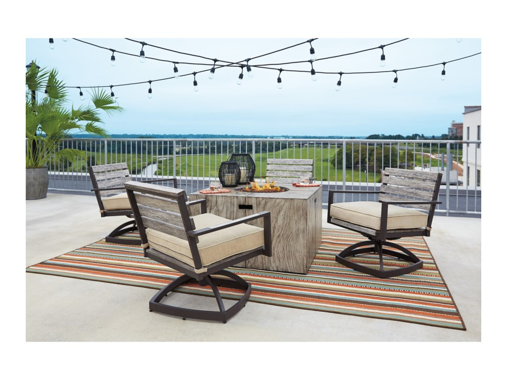 Signature Design by Ashley PeachstoneSet of 2 Outdoor Swivel Chairs w/ Cushion