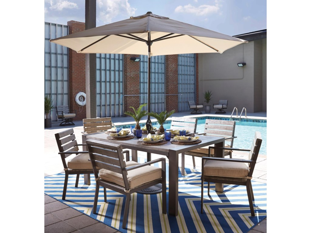 Outdoor dining table with umbrella - Signature Design By Ashley Peachstone Outdoor Dining Table Set With Umbrella John V Schultz Furniture Outdoor Dining Sets