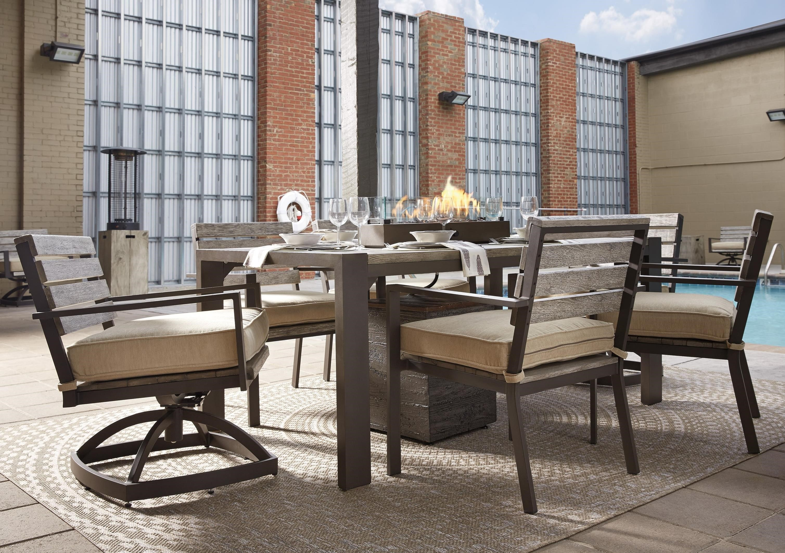 Signature Design By Ashley Peachstone Outdoor Dining Table Set With Swivel  Chairs U0026 Tank Storage Box