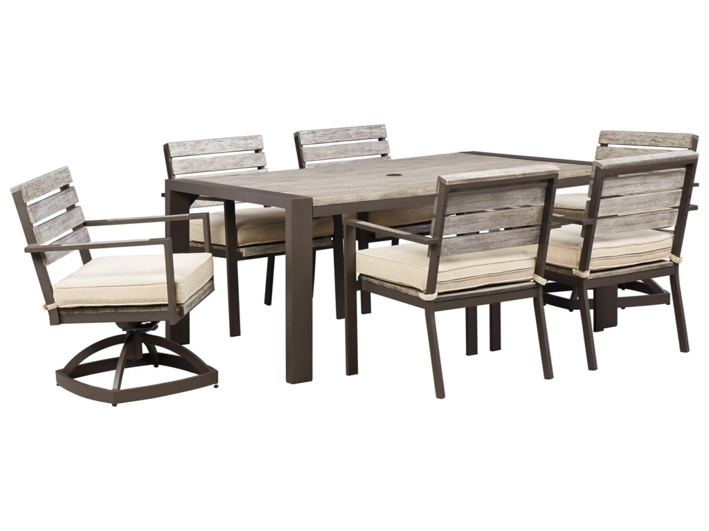 Signature Design By Ashley PeachstoneOutdoor Dining Table Set With Swivel Chairs