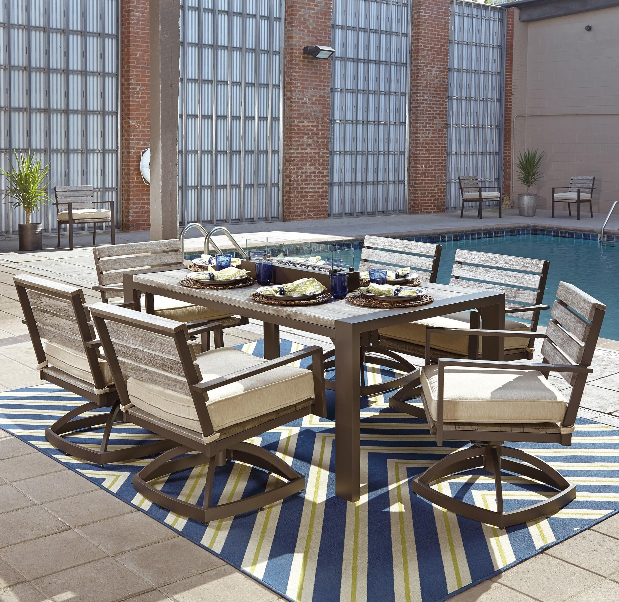 Signature Design By Ashley Peachstone Outdoor Dining Set With Fire Bowl