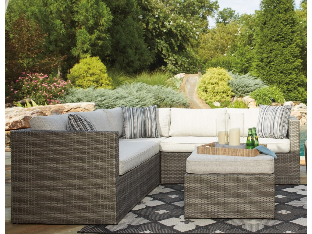 Signature Design by Ashley Peckham ParkOutdoor Sectional Set with Ottoman