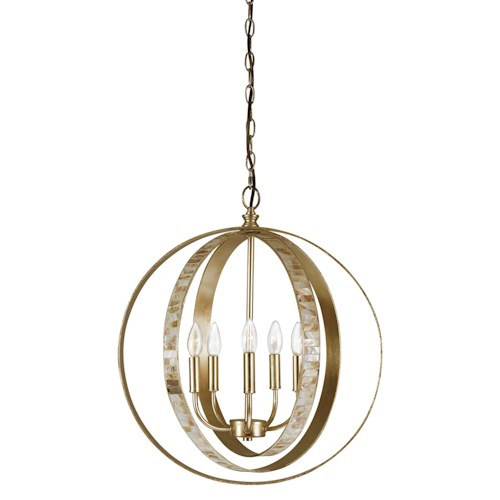 Signature Design by Ashley Pendant Lights Moshe Metal Silver Leaf Finish Pendant Light