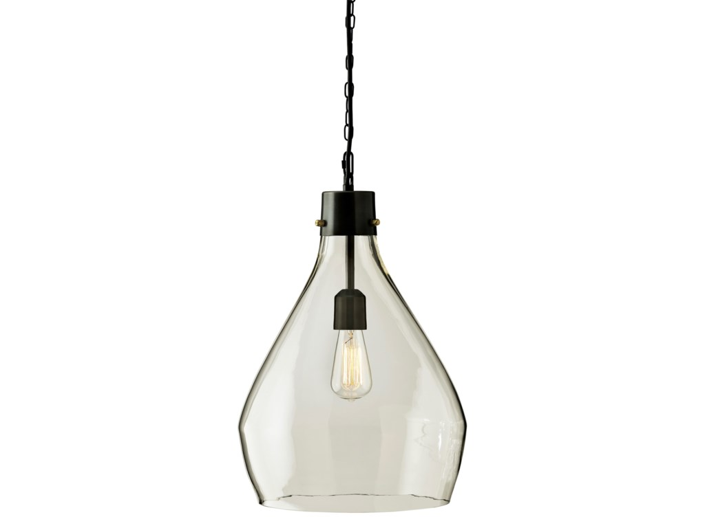 Signature Design by Ashley Pendant LightsAvalbane Clear/Gray Glass Pendant Light