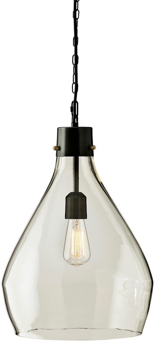 Signature Design by Ashley Pendant Lights Avalbane Clear/Gray Glass Pendant Light