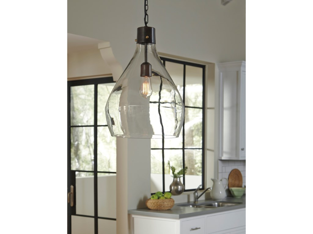 Signature Design by Ashley Pendant LightsAvalbane Clear/Gray Glass Pendant Light