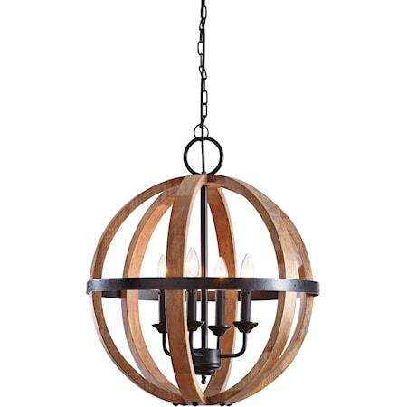 Emilano Black/Natural Wood Pendant Light