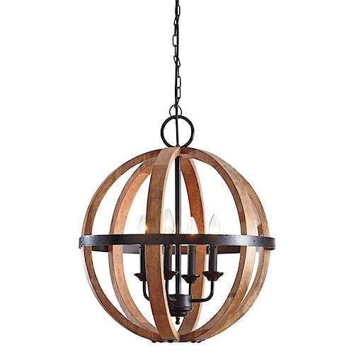 Signature Design By Ashley Pendant Lights Emilano Black Natural Wood Light