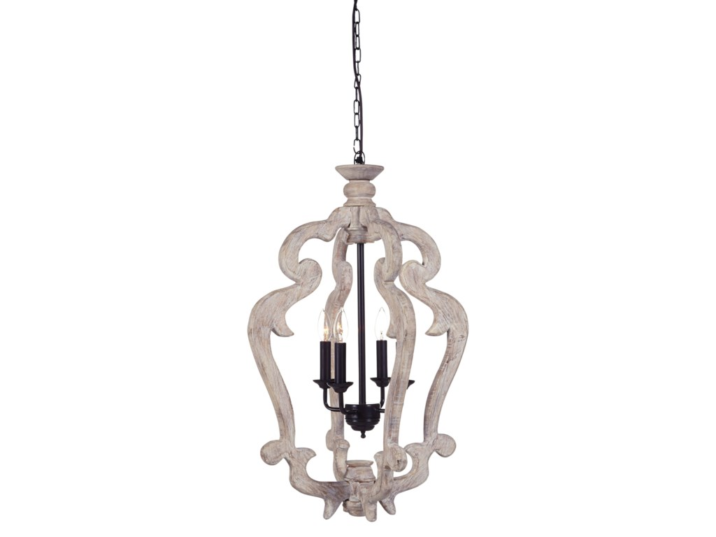 Signature Design By Ashley Pendant Lightsjocelin Distressed White Wood Light