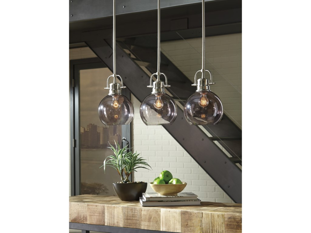 Signature Design by Ashley Pendant LightsJohano Gray Glass Pendant Light