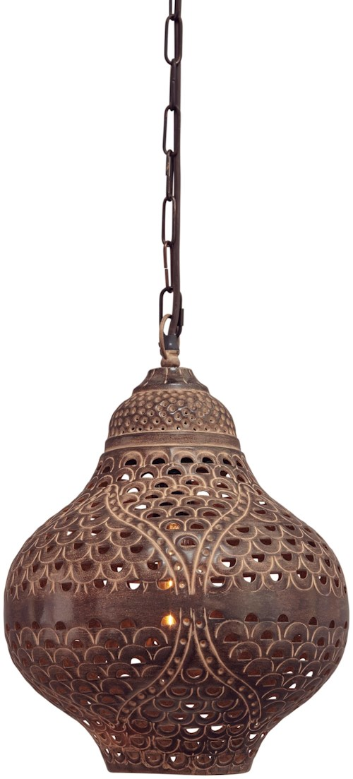 Signature Design by Ashley Pendant Lights Jonelle Antique Brown Metal Pendant Light