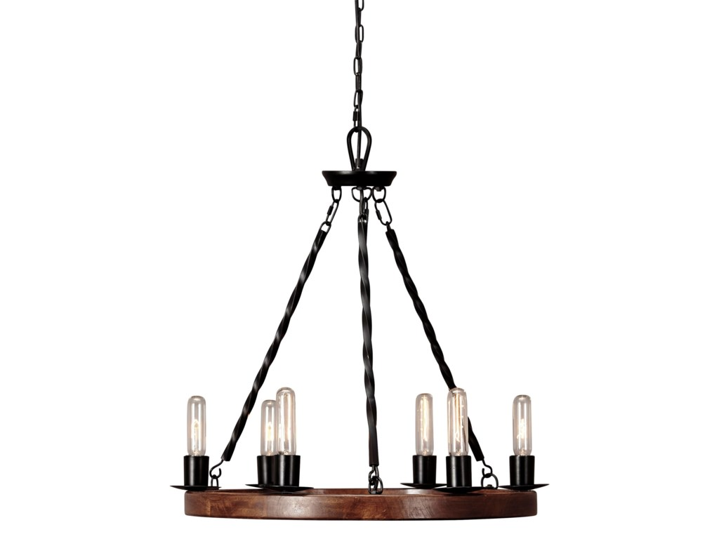 Signature Design by Ashley Pendant LightsPlato Brown/Black Wood Pendant Light