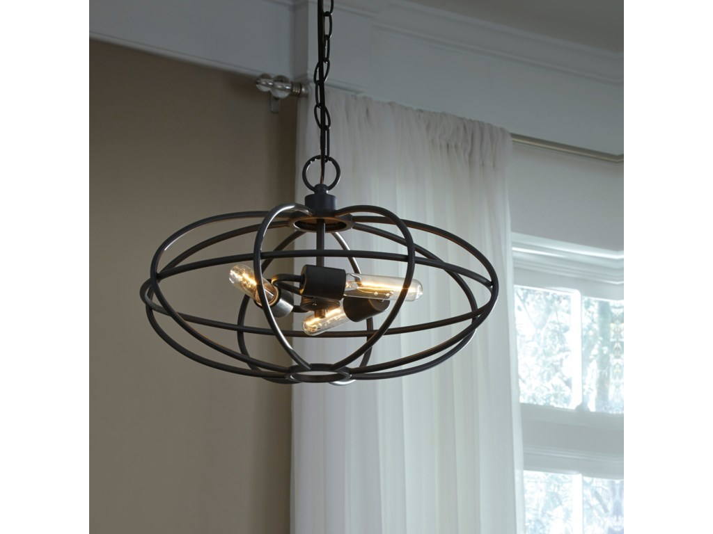 Ashley (Signature Design) Pendant LightsKenturah Gray Metal Pendant Light