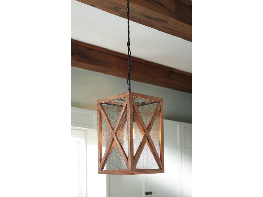 Signature Design by Ashley Pendant LightsJodene Brown Wood Pendant Light