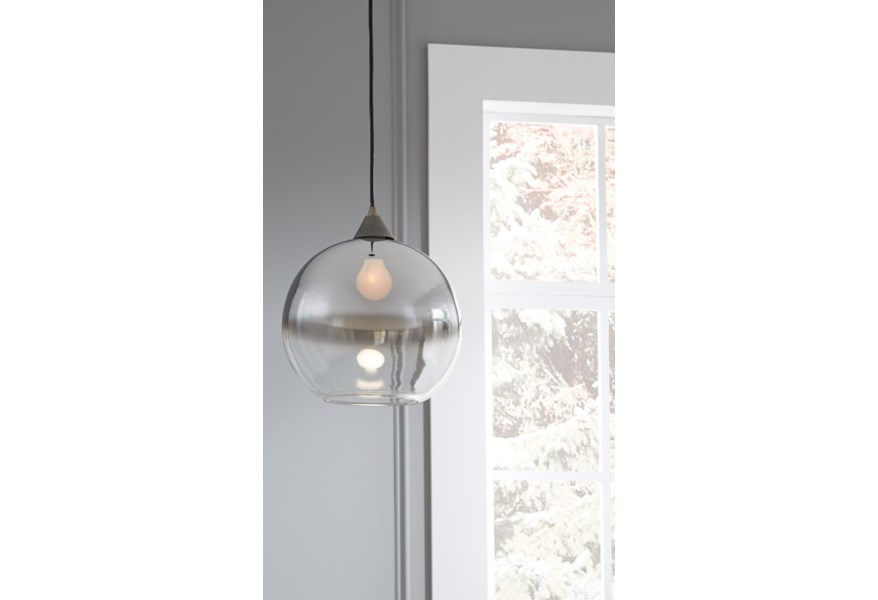Pendant Lights Minto Clear Silver Finish Gl Light By Ashley Signature Design At Dunk Bright Furniture