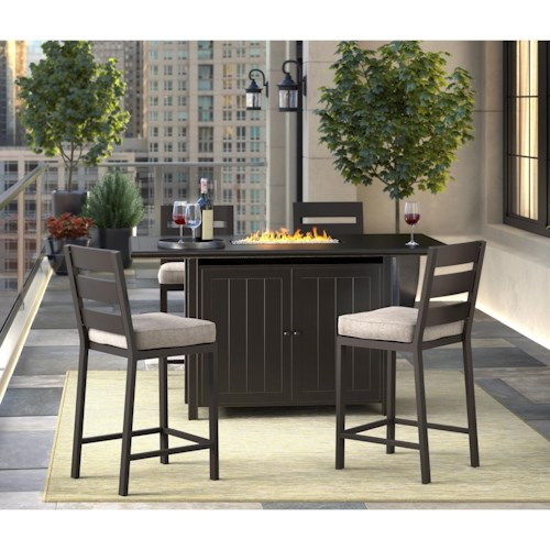 Signature Design by Ashley Perrymount 5 Piece Pub Dining Set with Fire Pit Table