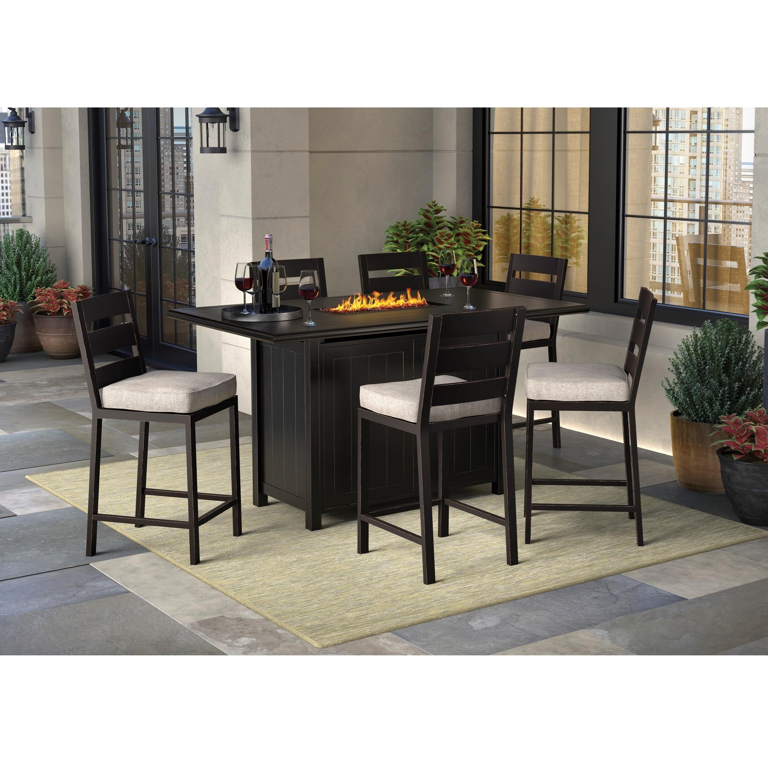 Signature Design By Ashley Perrymount 7 Piece Pub Dining Set With Fire Pit  Table