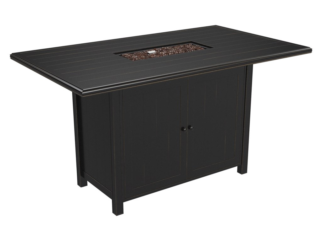 Ashley Signature Design Perrymount P539 665 Rectangular Fire Pit Bar Table Dunk Bright Furniture Outdoor Pits