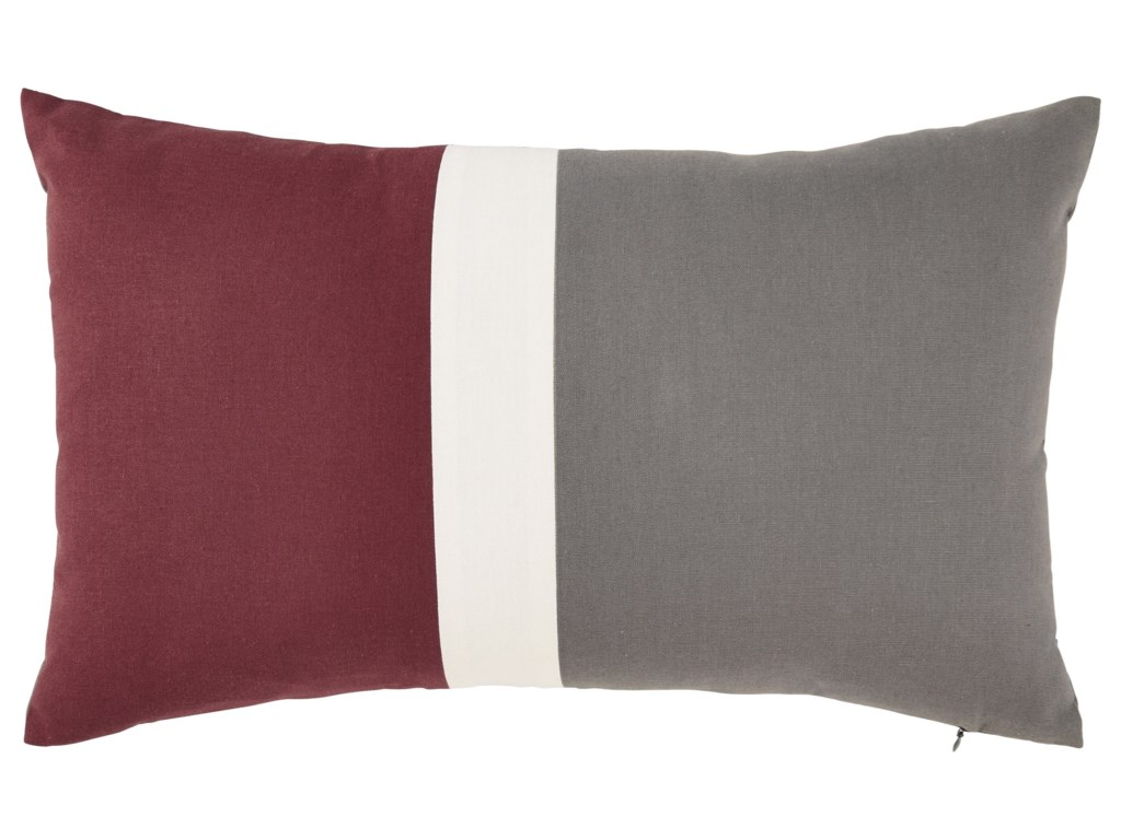 Signature Design by Ashley PillowsJacop Gray/White/Brick Red Pillow