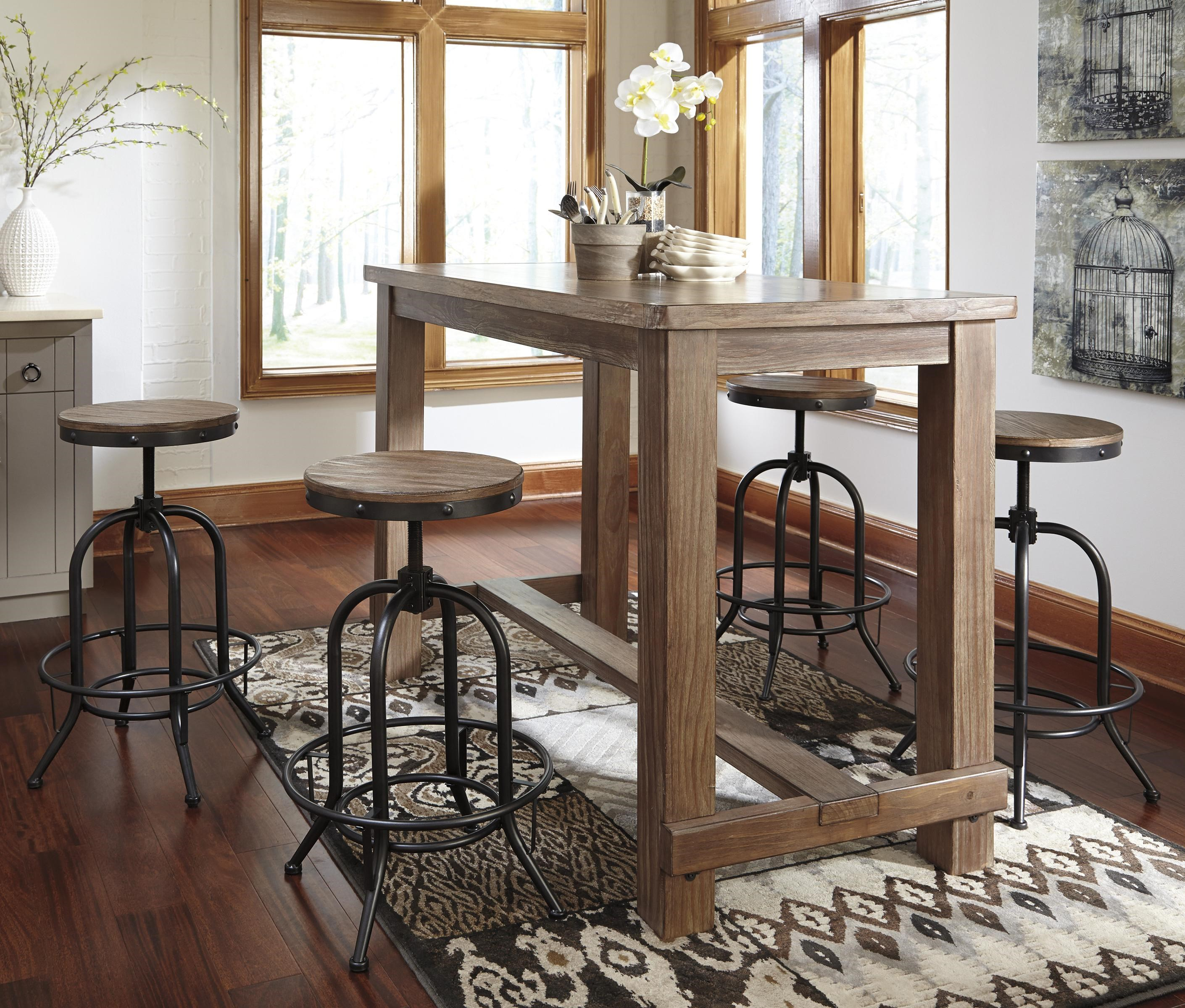 Signature Design By Ashley Pinnadel 5 Piece Bar Table Set With Industrial  Style Adjustable Swivel Stools   John V Schultz Furniture   Pub Table And  Stool ...