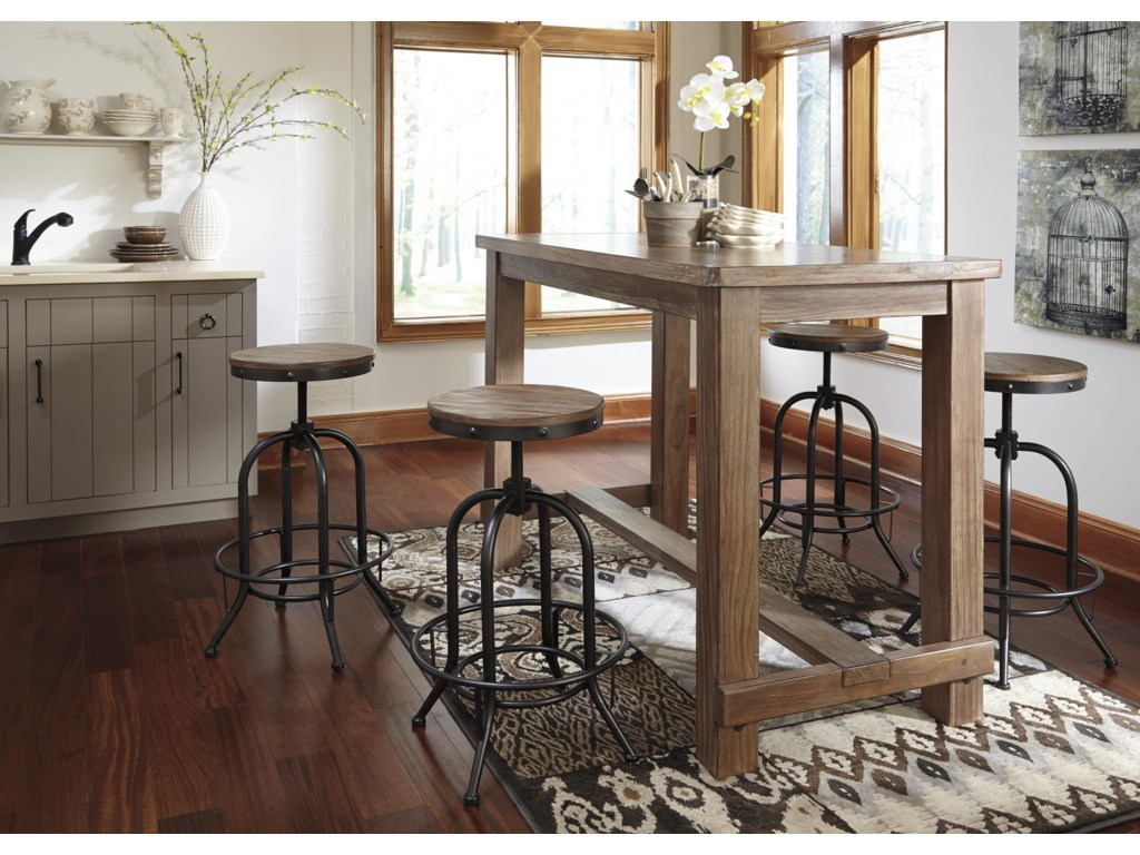 Bar table and chairs - Pinnadel 5 Piece Bar Table Set With Industrial Style Adjustable Swivel Stools By Signature Design By Ashley