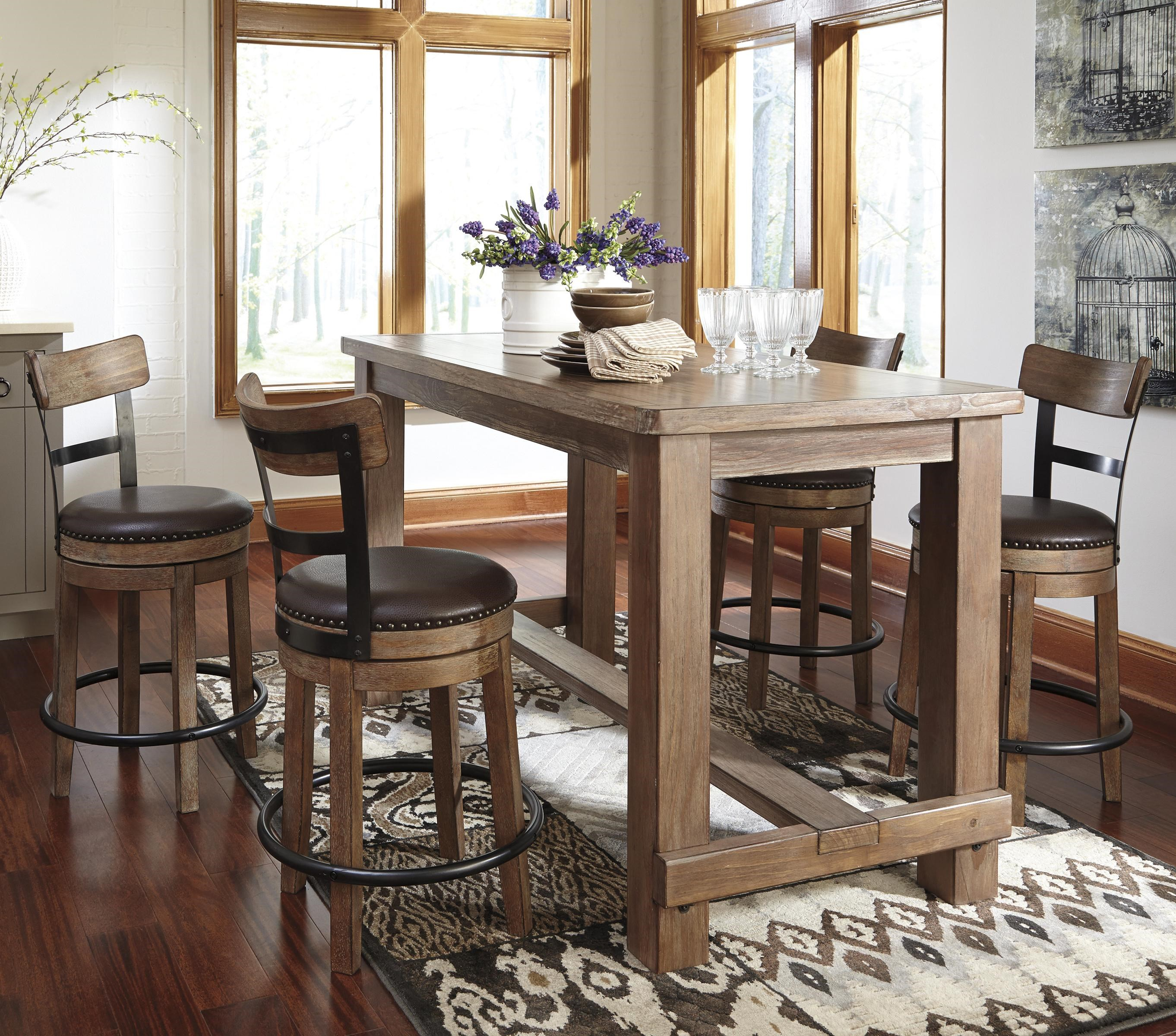 Beautiful Signature Design By Ashley Pinnadel5 Piece Counter Table Set ...