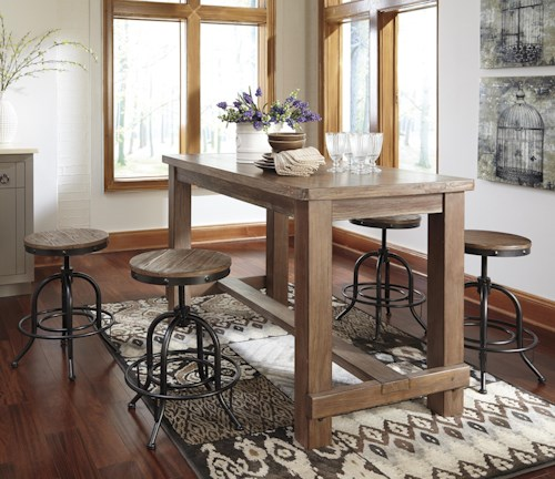 Signature Design By Ashley Pinnadel 5 Piece Counter Table Set With Industrial Style Adjustable Swivel