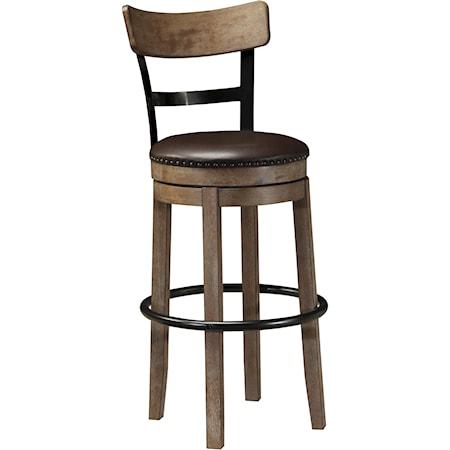 Tall Upholstered Swivel Barstool