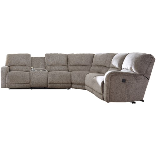 B751 Transitional Reclining Sectional With Storage Console: Signature Design By Ashley Pittsfield Power Reclining