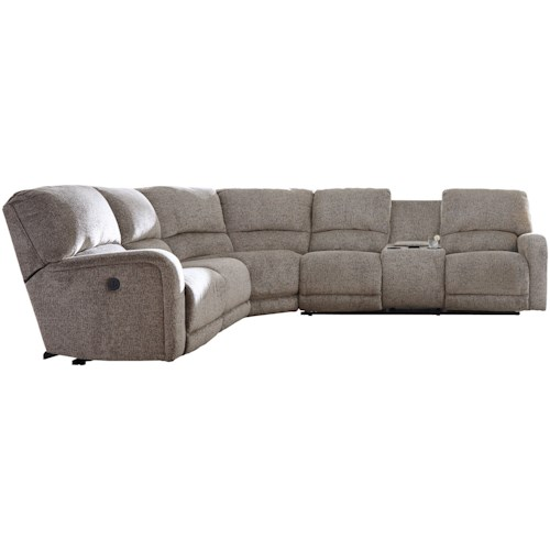 Signature Design by Ashley Pittsfield Power Reclining Sectional with Right Storage Console Loveseat