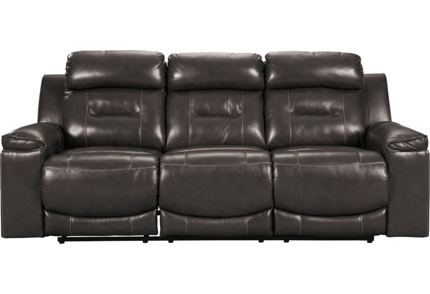 Pomellato Contemporary Leather Match Power Reclining Sofa w/ Adjustable  Headrests by Signature Design by Ashley at Furniture and ApplianceMart