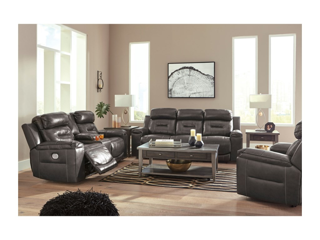 Signature Design by Ashley OthelloPower Reclining Sofa w/ Adjustable Headrests