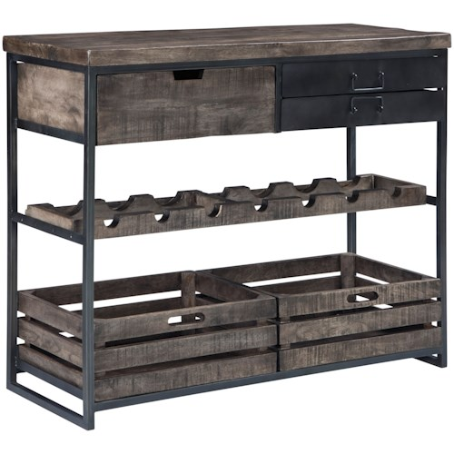 Signature Design by Ashley Ponder Ridge Industrial Accent Cabinet with Wine Bottle Storage
